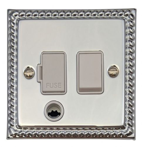 G&H MC56W Monarch Roped Polished Chrome 1 Gang Fused Spur 13A Switched & Flex Outlet